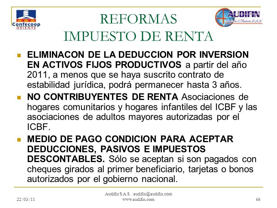 REFORMAS IMPUESTO DE RENTA