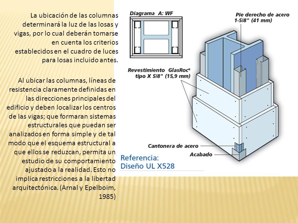 La ubicación de las columnas determinará la luz de las losas y vigas, por lo cual deberán tomarse en cuenta los criterios establecidos en el cuadro de luces para losas incluido antes.