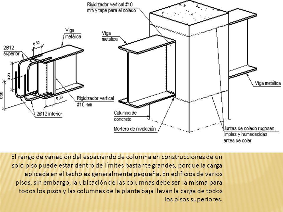 El rango de variación del espaciando de columna en construcciones de un solo piso puede estar dentro de límites bastante grandes, porque la carga aplicada en el techo es generalmente pequeña.