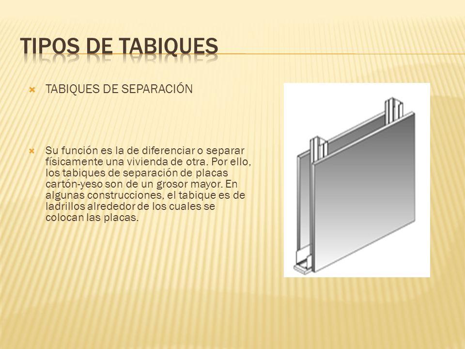 Tipos de Tabiques TABIQUES DE SEPARACIÓN