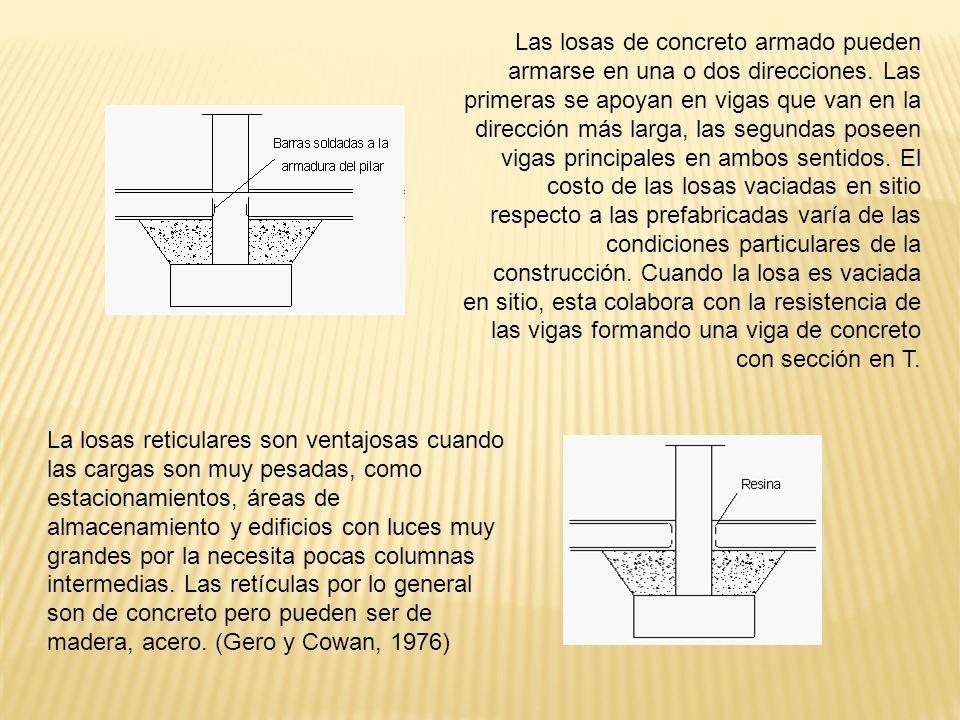Las losas de concreto armado pueden armarse en una o dos direcciones