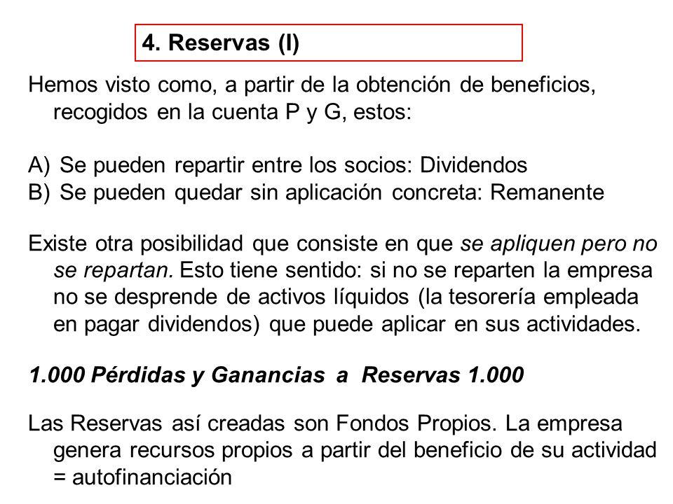 4. Reservas (I) Hemos visto como, a partir de la obtención de beneficios, recogidos en la cuenta P y G, estos: