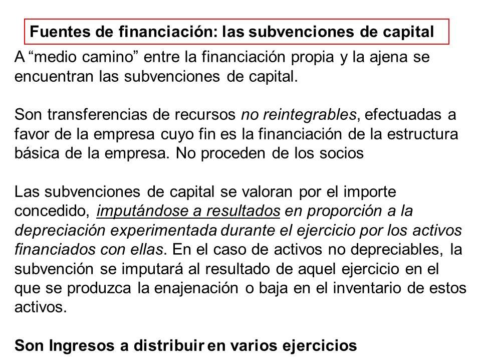Fuentes de financiación: las subvenciones de capital