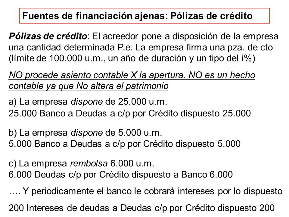 Fuentes de financiación ajenas: Pólizas de crédito