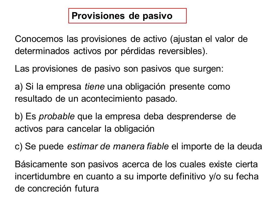 Provisiones de pasivo Conocemos las provisiones de activo (ajustan el valor de determinados activos por pérdidas reversibles).