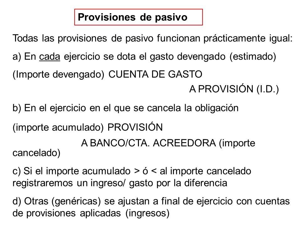 Provisiones de pasivo Todas las provisiones de pasivo funcionan prácticamente igual: a) En cada ejercicio se dota el gasto devengado (estimado)