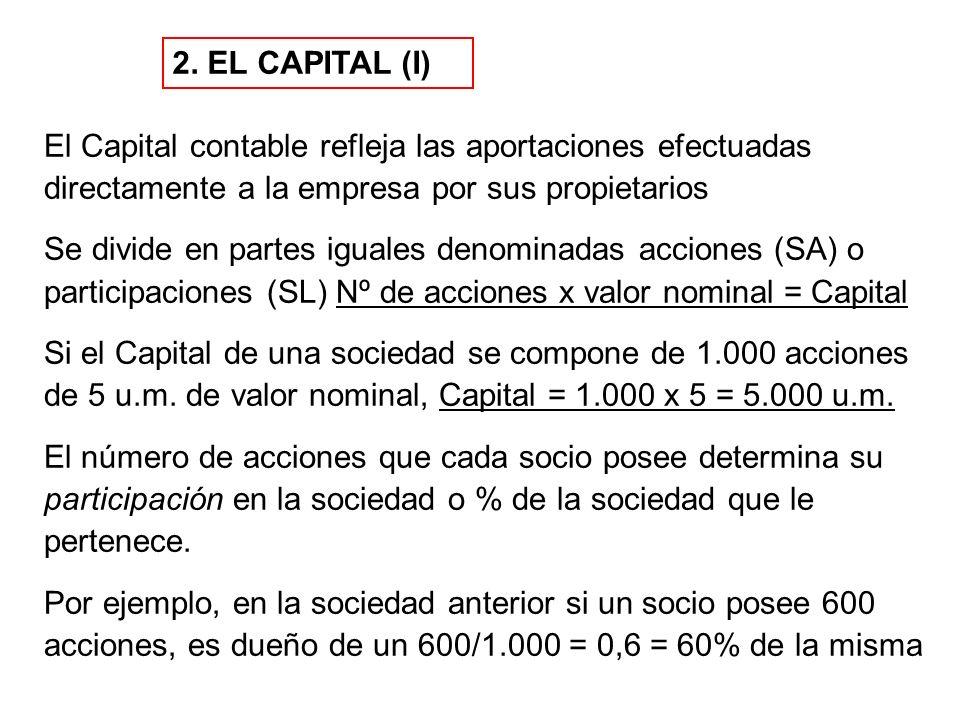 2. EL CAPITAL (I) El Capital contable refleja las aportaciones efectuadas directamente a la empresa por sus propietarios.