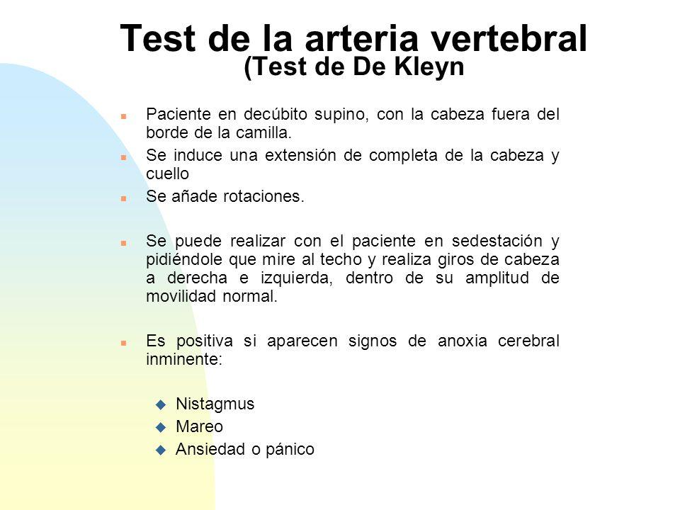 Test de la arteria vertebral (Test de De Kleyn