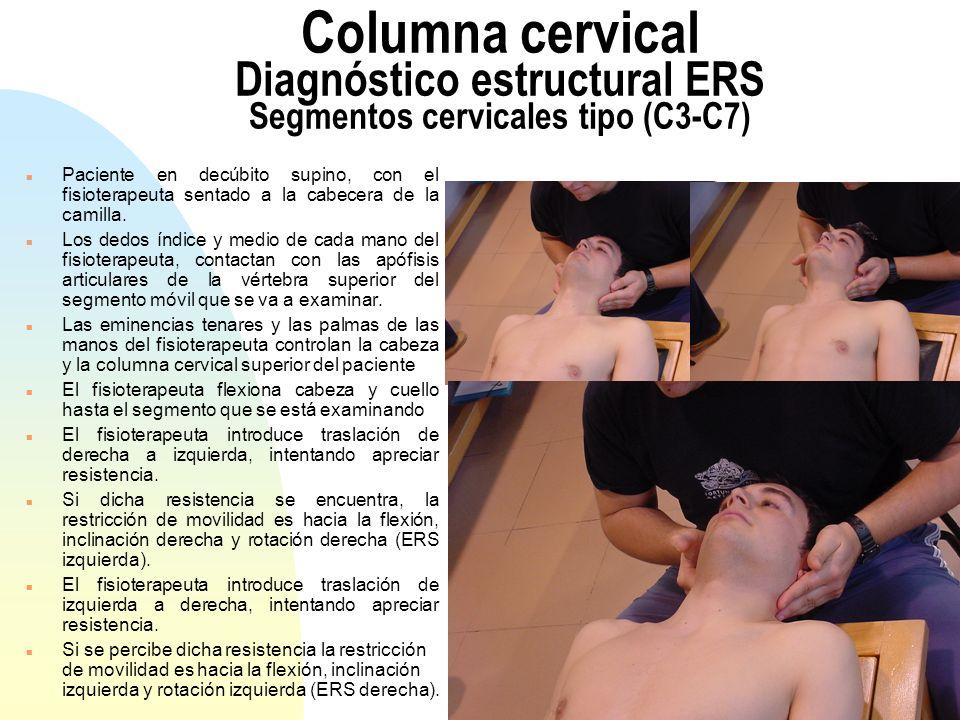 Columna cervical Diagnóstico estructural ERS Segmentos cervicales tipo (C3-C7)