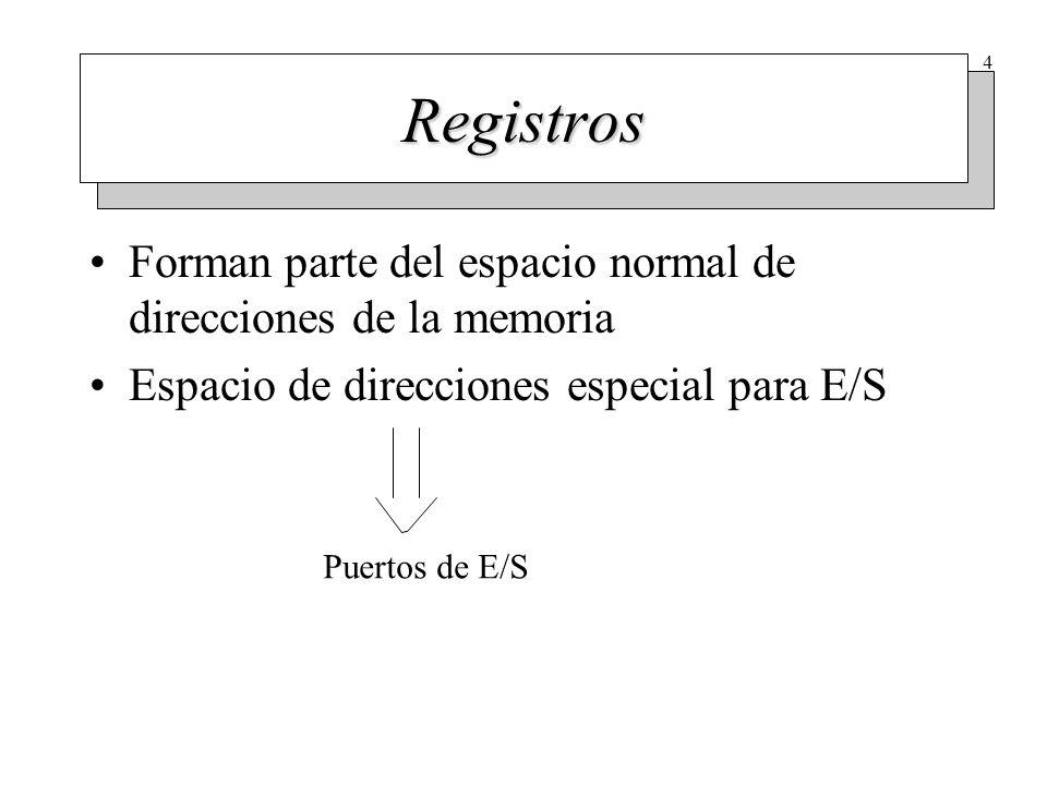Operaciones de E/S El S.O. escribe órdenes y parámetros en los registros. El controlador acepta la orden y comienza a trabajar.
