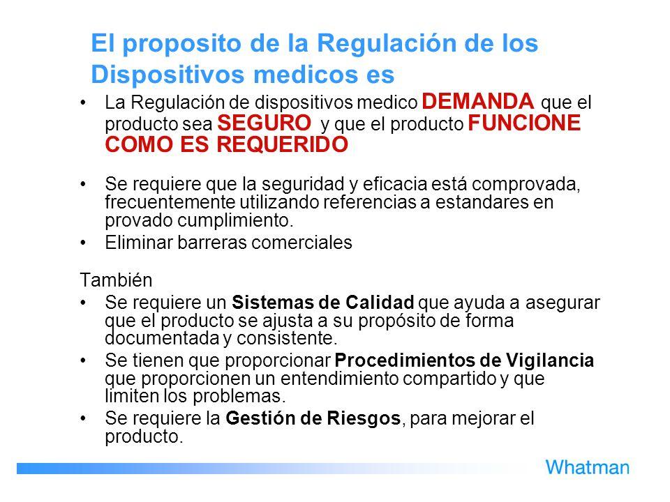 El proposito de la Regulación de los Dispositivos medicos es