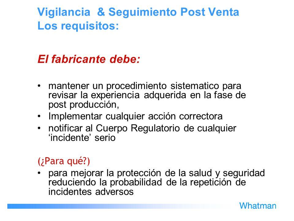 Vigilancia & Seguimiento Post Venta Los requisitos: