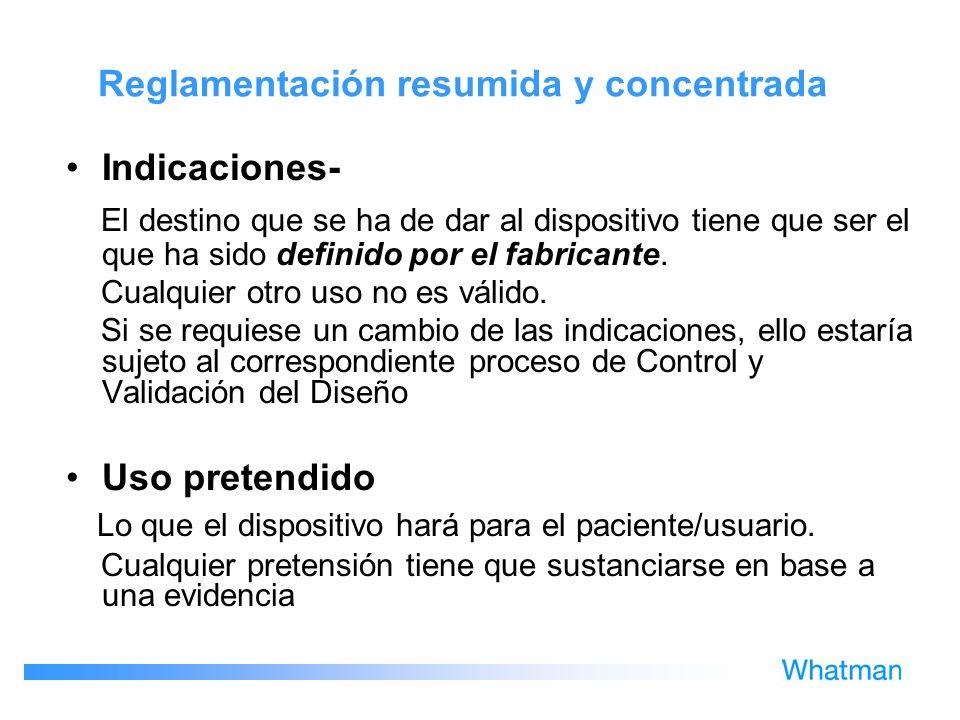 Reglamentación resumida y concentrada
