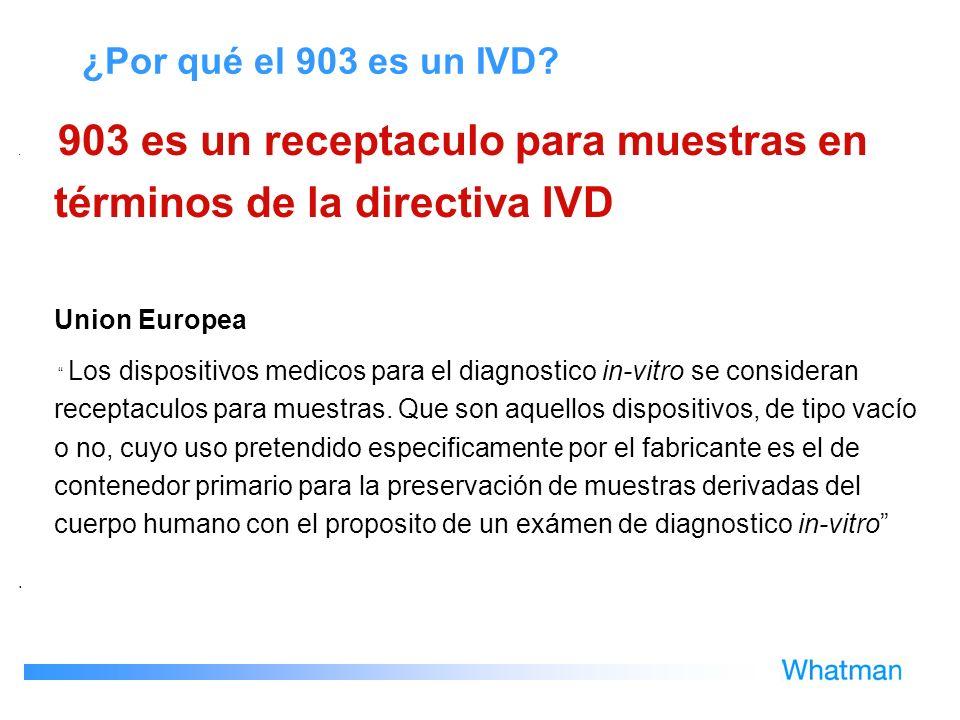 ¿Por qué el 903 es un IVD Union Europea