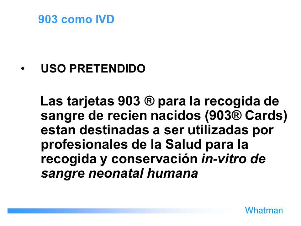 903 como IVD USO PRETENDIDO.