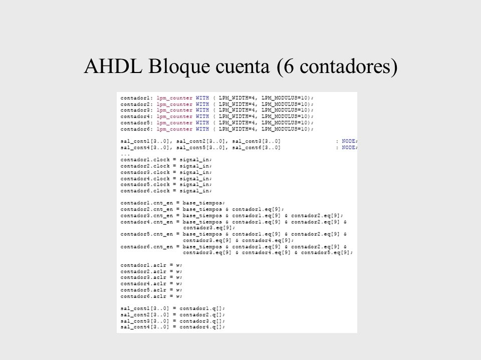 AHDL Bloque cuenta (6 contadores)