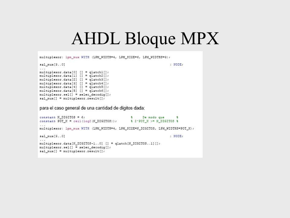 AHDL Bloque MPX