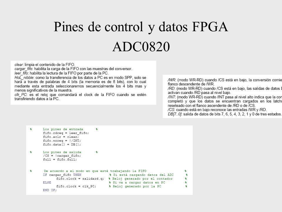 Pines de control y datos FPGA ADC0820