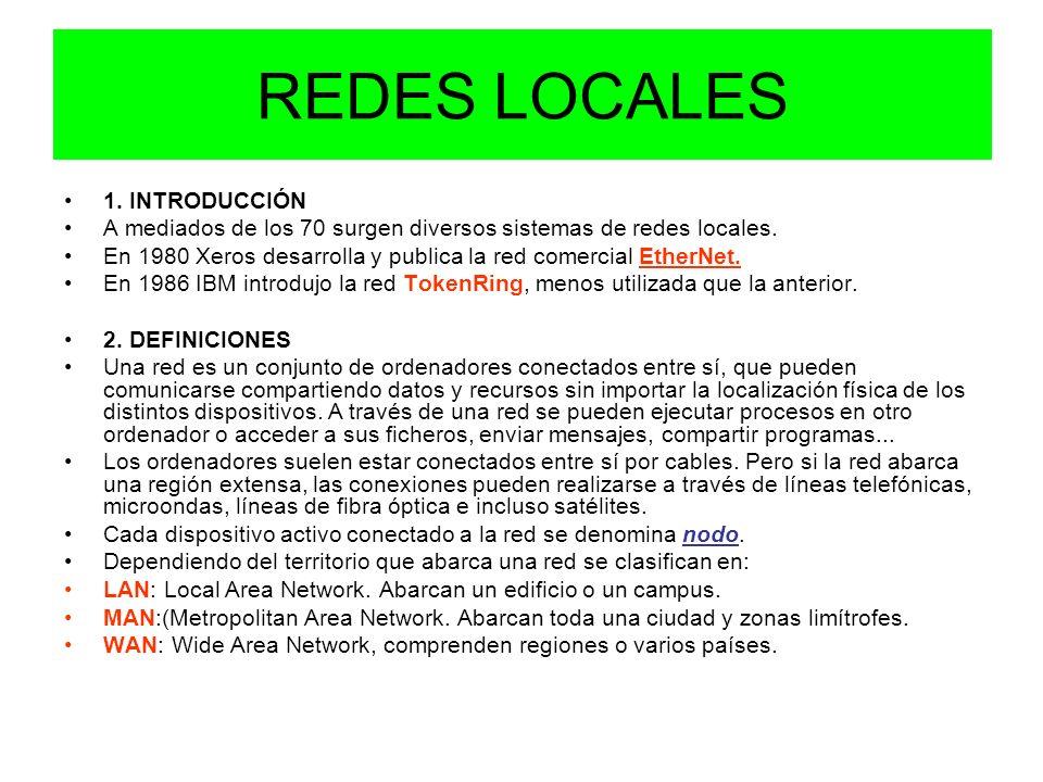 REDES LOCALES 1. INTRODUCCIÓN