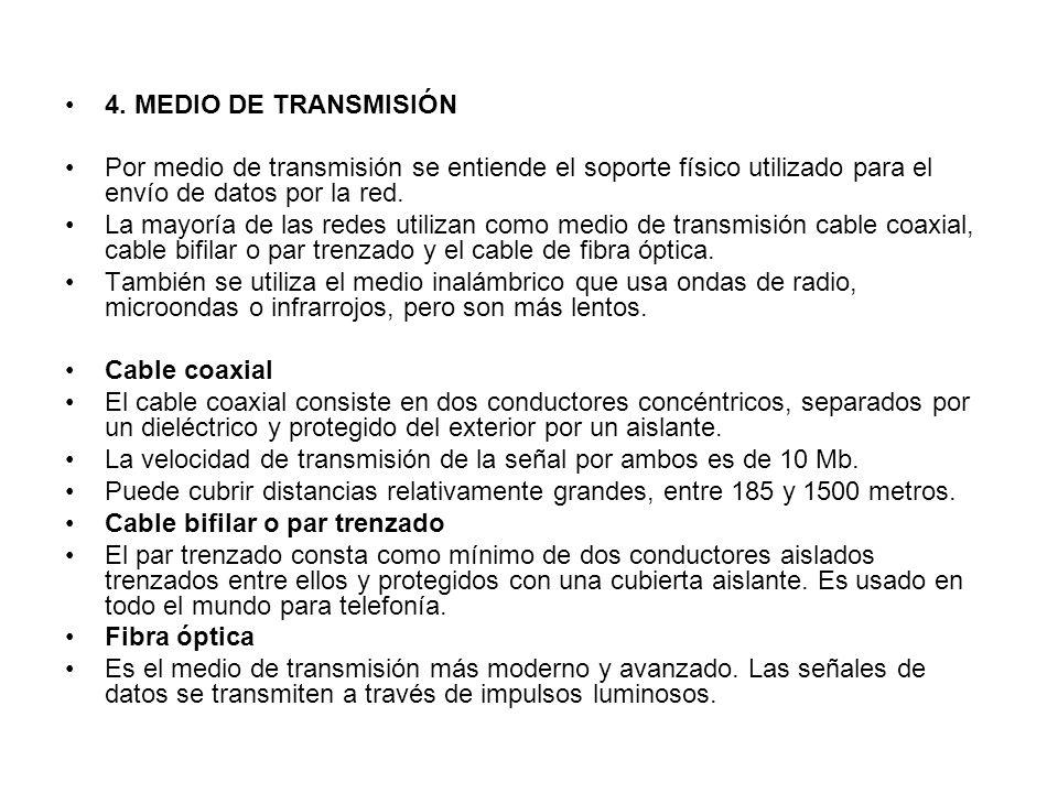 4. MEDIO DE TRANSMISIÓN Por medio de transmisión se entiende el soporte físico utilizado para el envío de datos por la red.