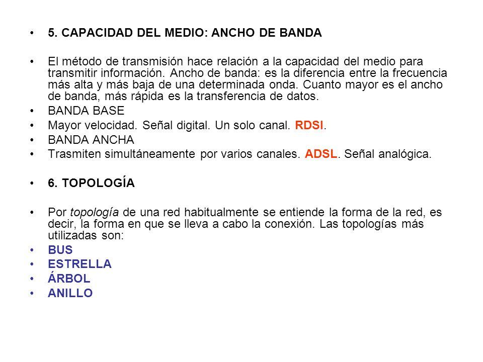 5. CAPACIDAD DEL MEDIO: ANCHO DE BANDA