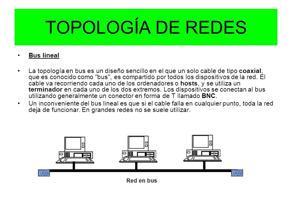 TOPOLOGÍA DE REDES Bus lineal