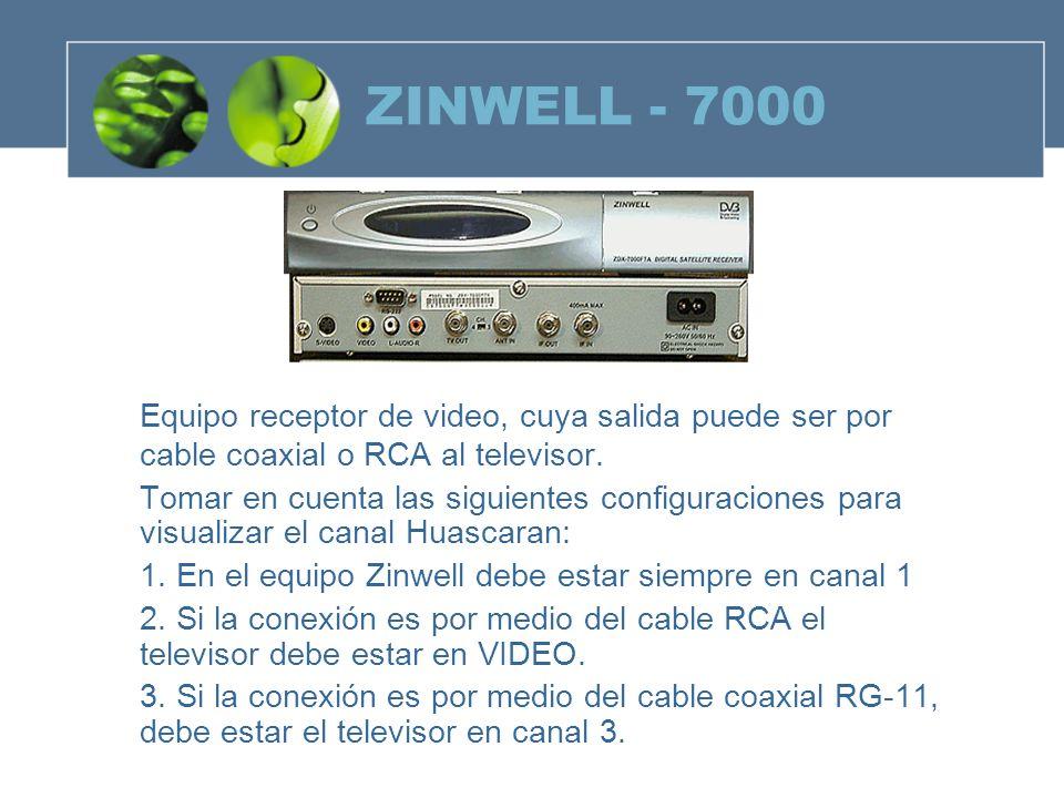 ZINWELL - 7000Equipo receptor de video, cuya salida puede ser por cable coaxial o RCA al televisor.