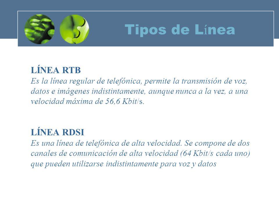 Tipos de Línea LÍNEA RTB LÍNEA RDSI