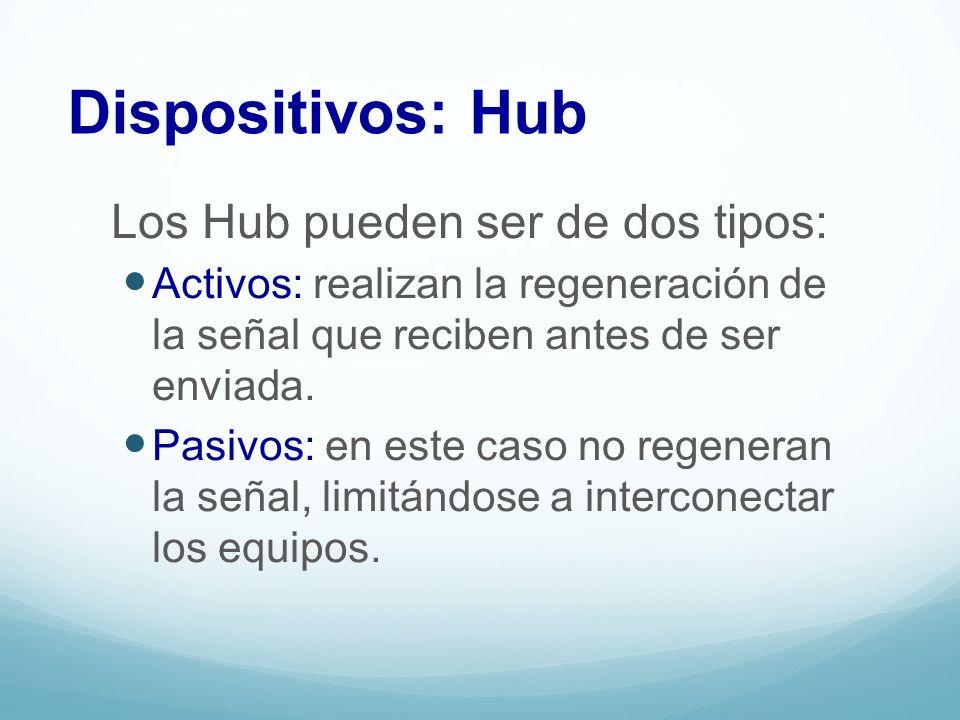 Dispositivos: Hub Los Hub pueden ser de dos tipos: