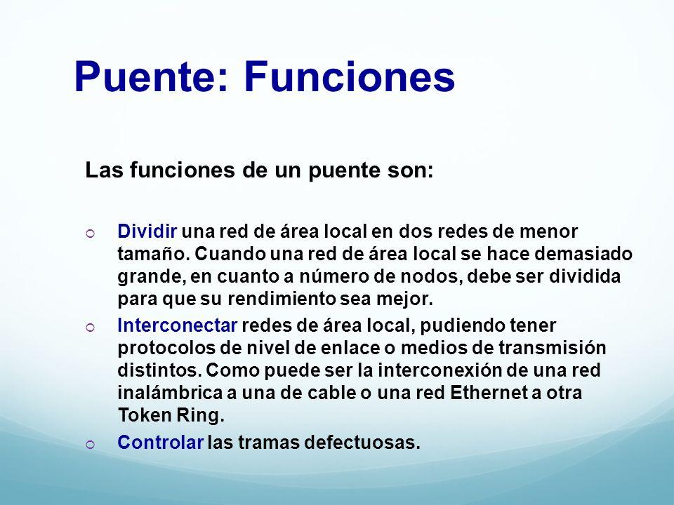 Puente: Funciones Las funciones de un puente son:
