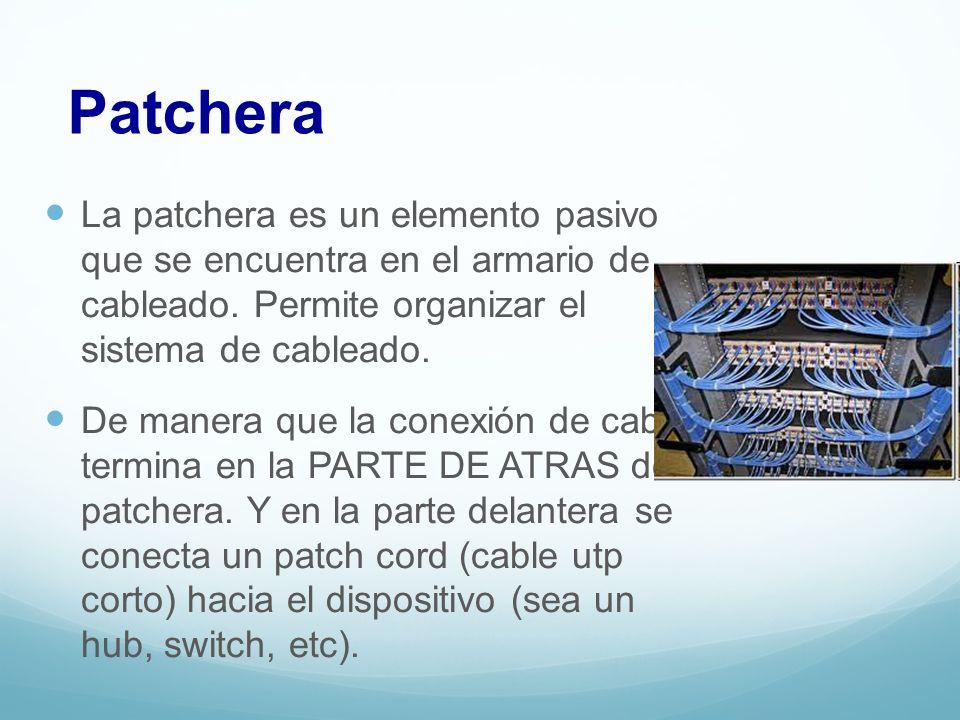 Patchera La patchera es un elemento pasivo que se encuentra en el armario de cableado. Permite organizar el sistema de cableado.