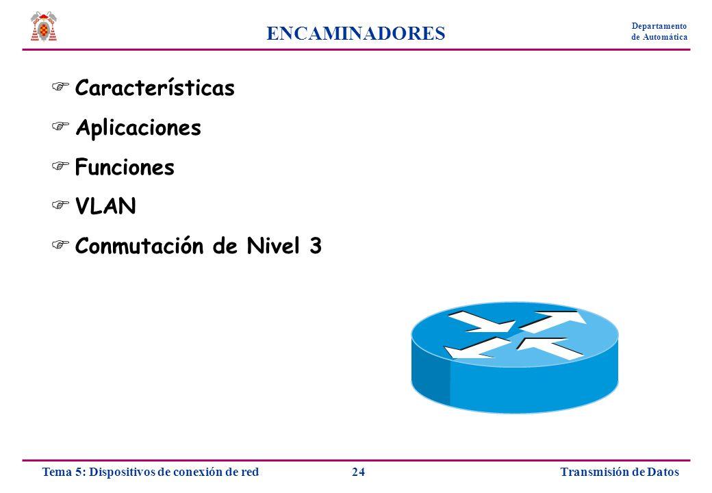 Características Aplicaciones Funciones VLAN Conmutación de Nivel 3