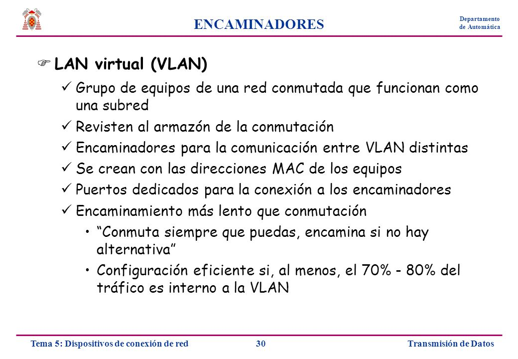 LAN virtual (VLAN) ENCAMINADORES