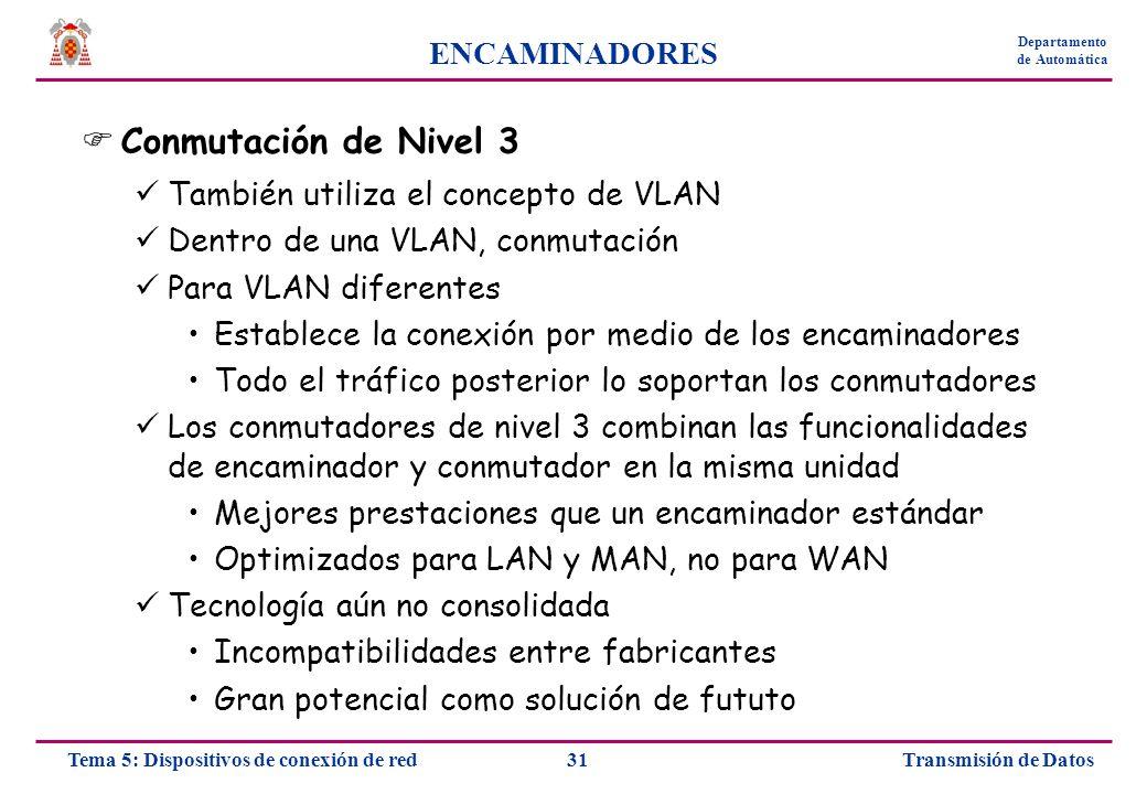 Conmutación de Nivel 3 ENCAMINADORES
