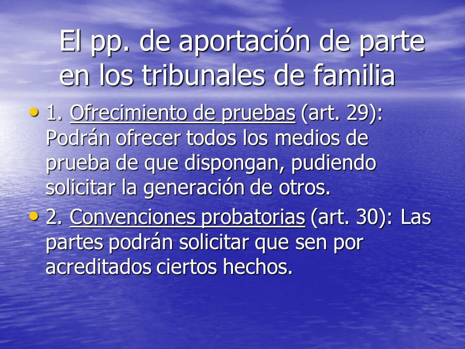 El pp. de aportación de parte en los tribunales de familia