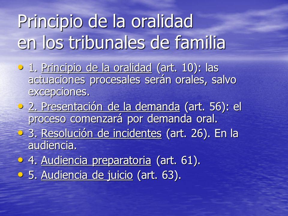 Principio de la oralidad en los tribunales de familia