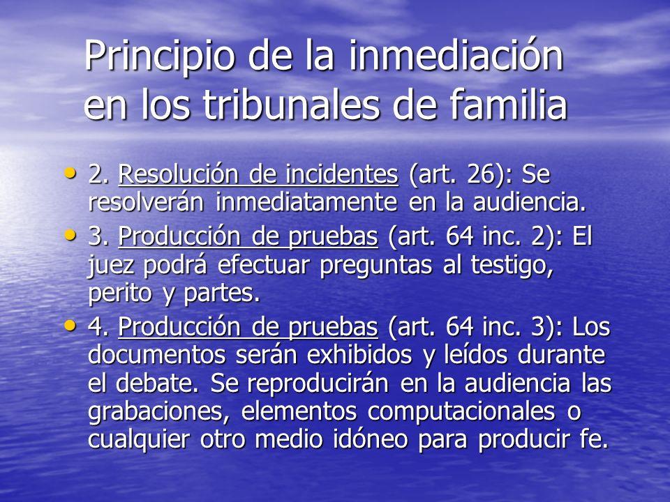 Principio de la inmediación en los tribunales de familia