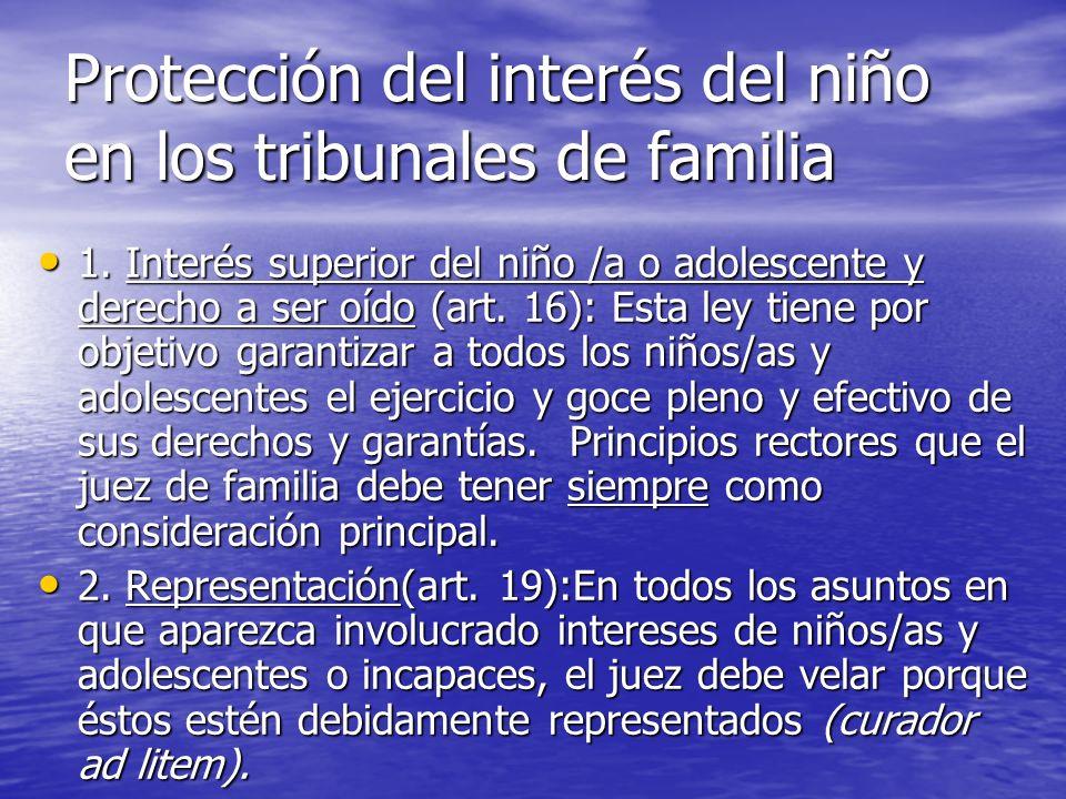 Protección del interés del niño en los tribunales de familia