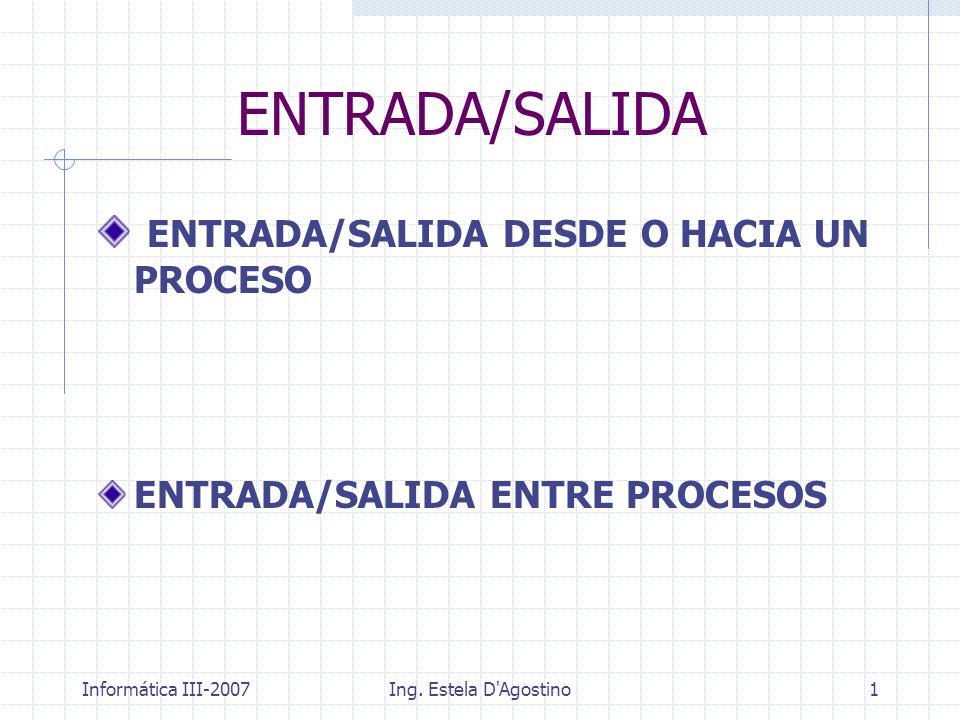 ENTRADA/SALIDA ENTRADA/SALIDA DESDE O HACIA UN PROCESO
