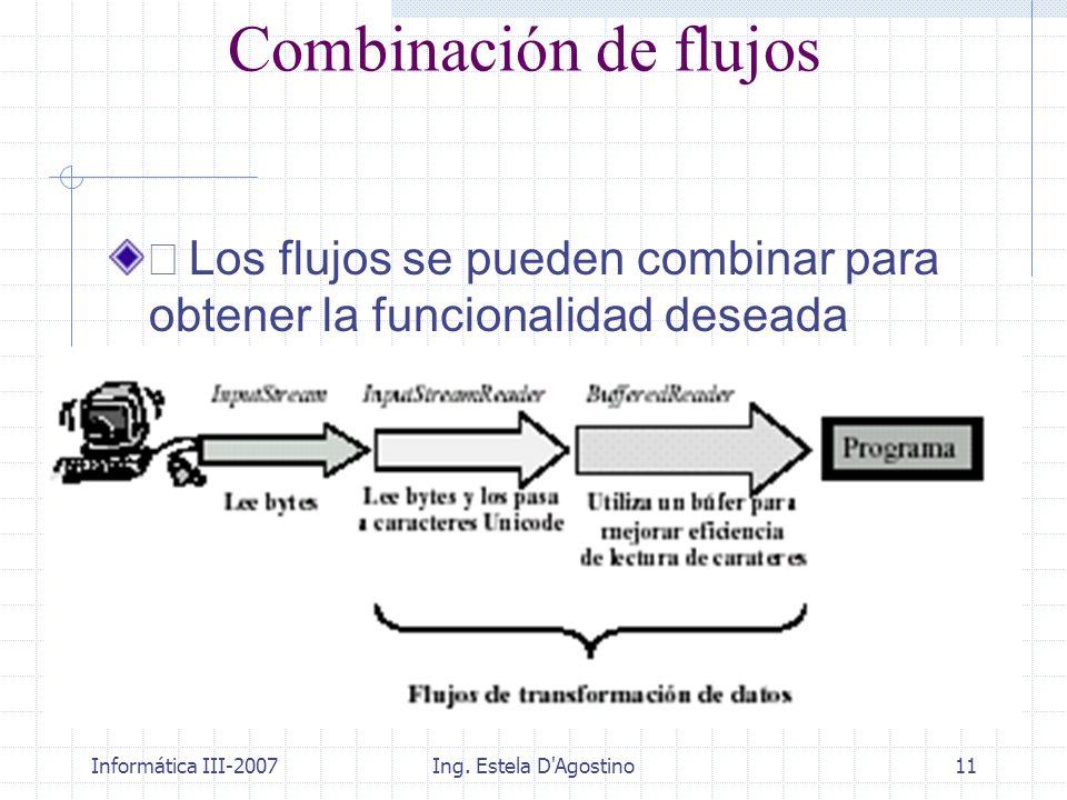 Combinación de flujos • Los flujos se pueden combinar para obtener la funcionalidad deseada. Informática III-2007.