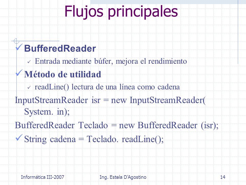 Flujos principales BufferedReader Método de utilidad