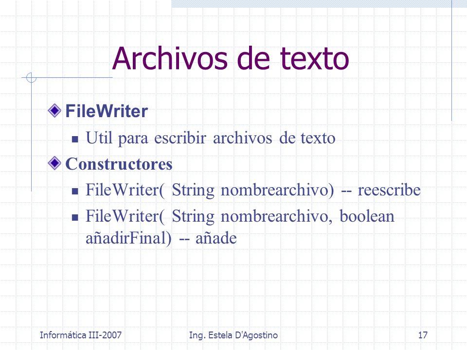 Archivos de texto FileWriter Util para escribir archivos de texto