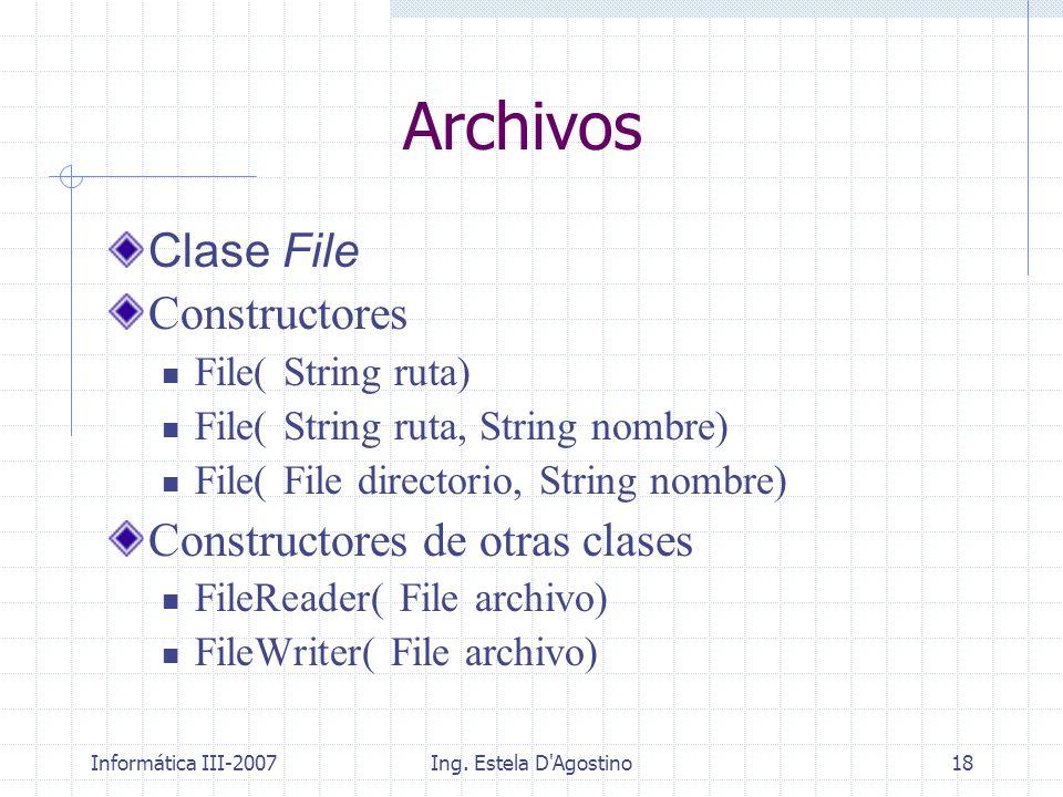 Archivos Clase File Constructores Constructores de otras clases