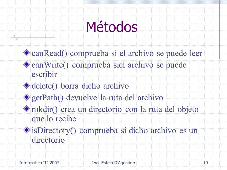 Métodos canRead() comprueba si el archivo se puede leer