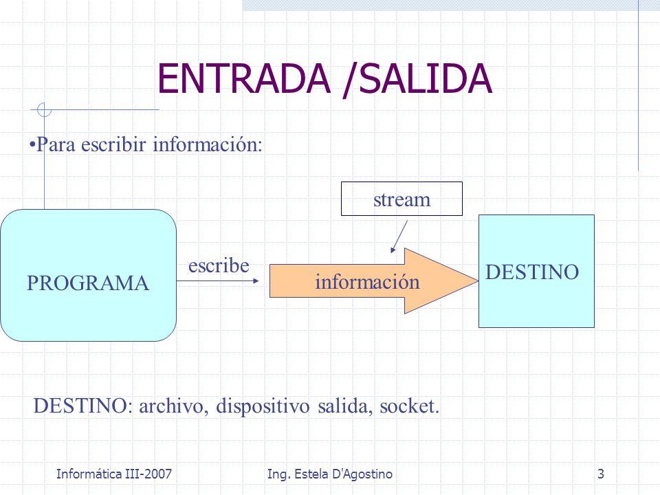 ENTRADA /SALIDA Para escribir información: stream DESTINO PROGRAMA