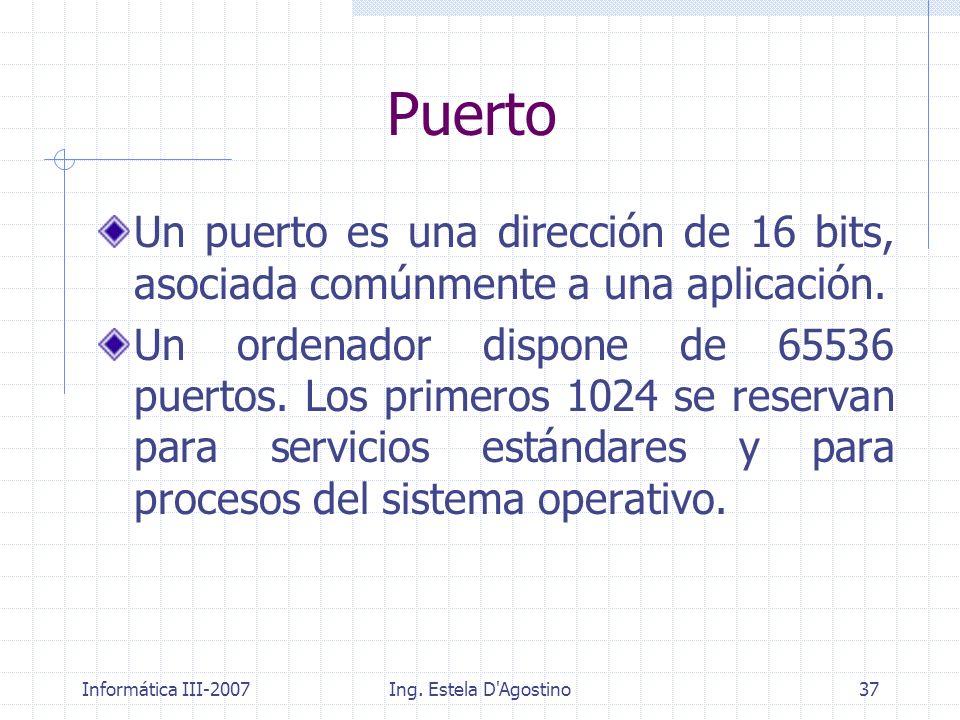 Puerto Un puerto es una dirección de 16 bits, asociada comúnmente a una aplicación.