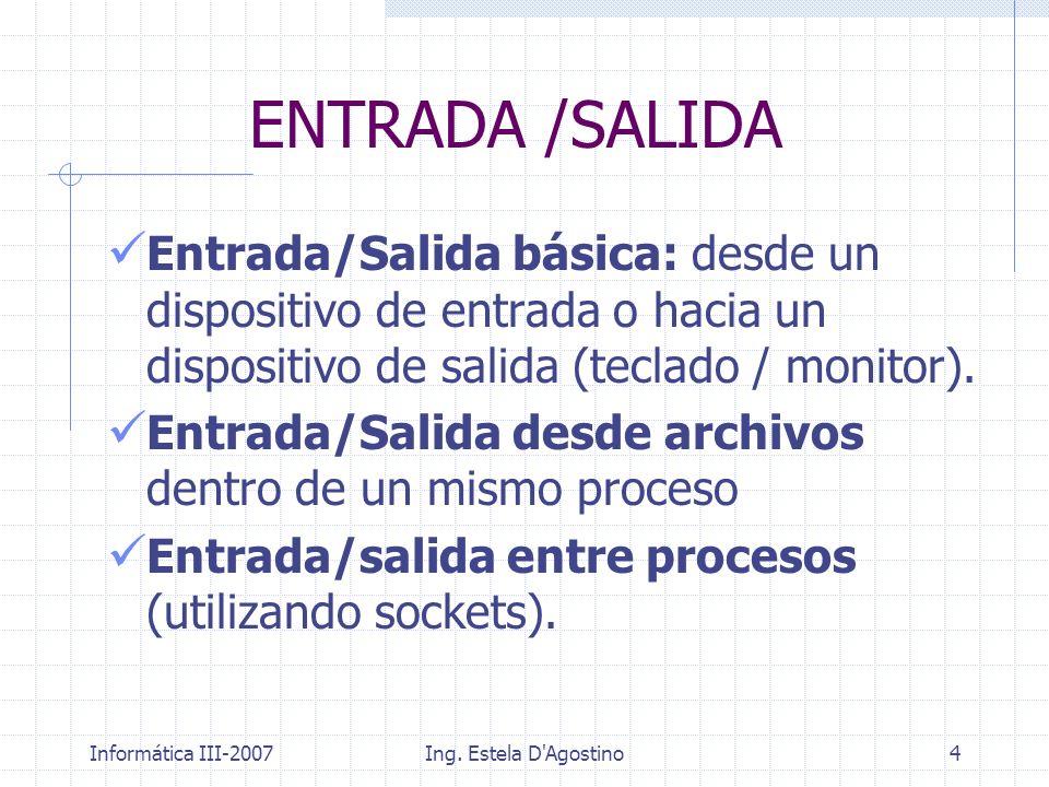 ENTRADA /SALIDA Entrada/Salida básica: desde un dispositivo de entrada o hacia un dispositivo de salida (teclado / monitor).