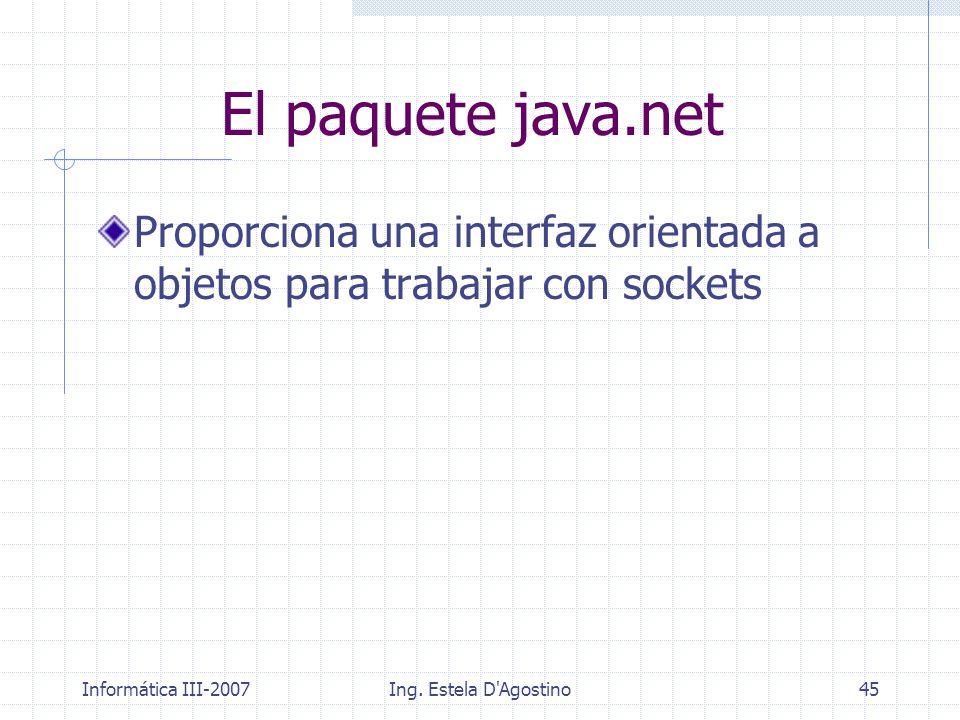 El paquete java.net Proporciona una interfaz orientada a objetos para trabajar con sockets. Informática III-2007.