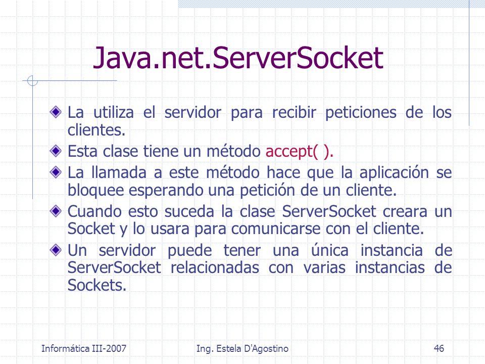 Java.net.ServerSocket La utiliza el servidor para recibir peticiones de los clientes. Esta clase tiene un método accept( ).