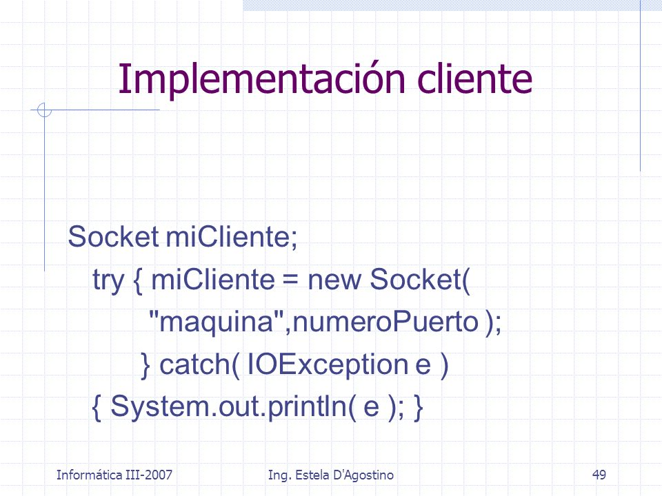 Implementación cliente